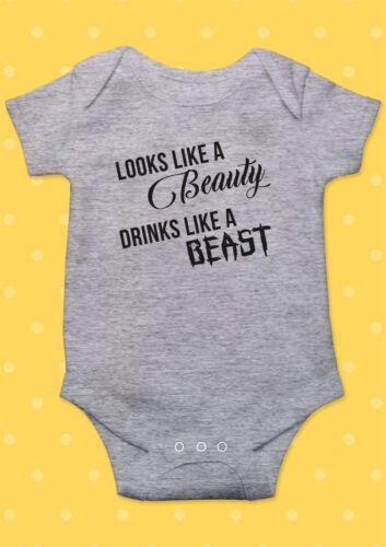 Looks Like Beauty Drink Beast Funny Cool Baby Shower Boy Girl Bodysuit Romper 36