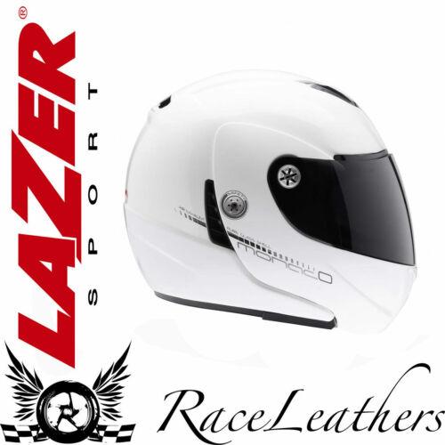 LAZER MONACO PURE GLASS GLOSS WHITE FLIP FRONT MOTORCYCLE MOTORBIKE HELMET