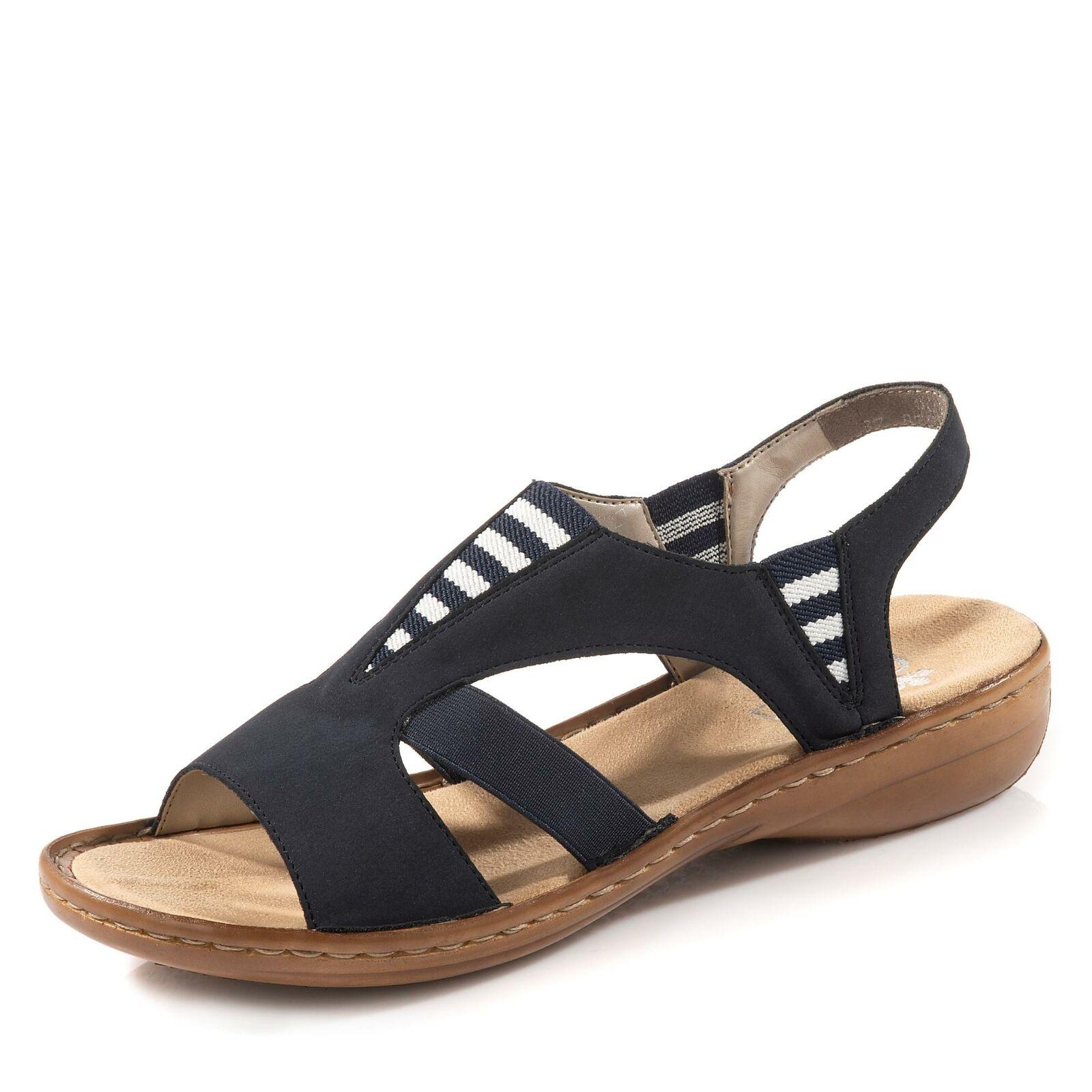 Rieker Damen Sandale Sandalette Pantolette Schlupfschuh Sommerschuh Schuhe blau