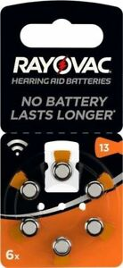 6 x Hörgerätebatterien Knopfzelle Rayovac 13 13A 13AE PR48 DA13 HA13 V13 Typ
