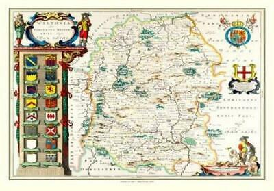 Hampshire Old County Map Johan Blaeu 1648