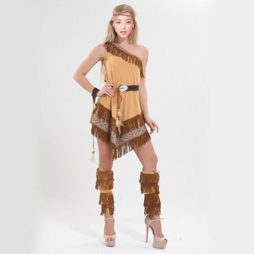 Indian Lady Squaw Costume Native American Tribal Halloween Party Fancy Dress