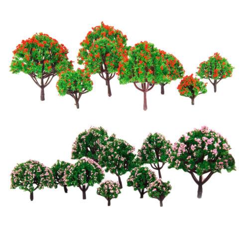 20Pcs Mini Modèle Fleur Arbres 1 / 75-1 / 500 HO Z N Échelle pour Diorama