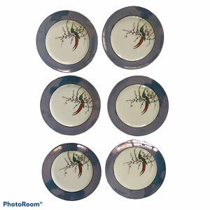 Noritake Vtg Lusterware Salad Dessert Plates Set of Six Blue Bird Flower Japan