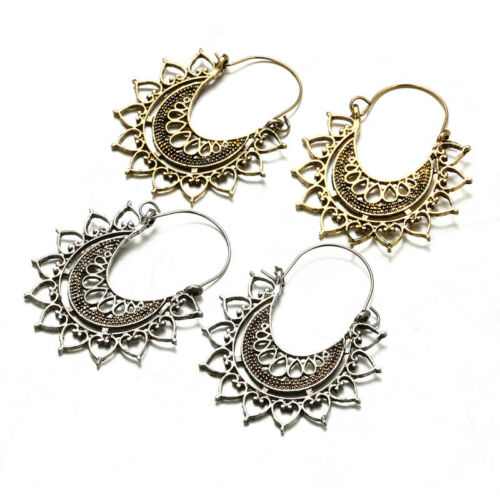 Vintage Gold Silver Plated Geometric Dangle Drop Hoop Earrings Fashion Jewelry