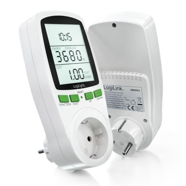 LogiLink Energiekosten Messgerät Energiemesser Strommesser Stromzähler Steckdose