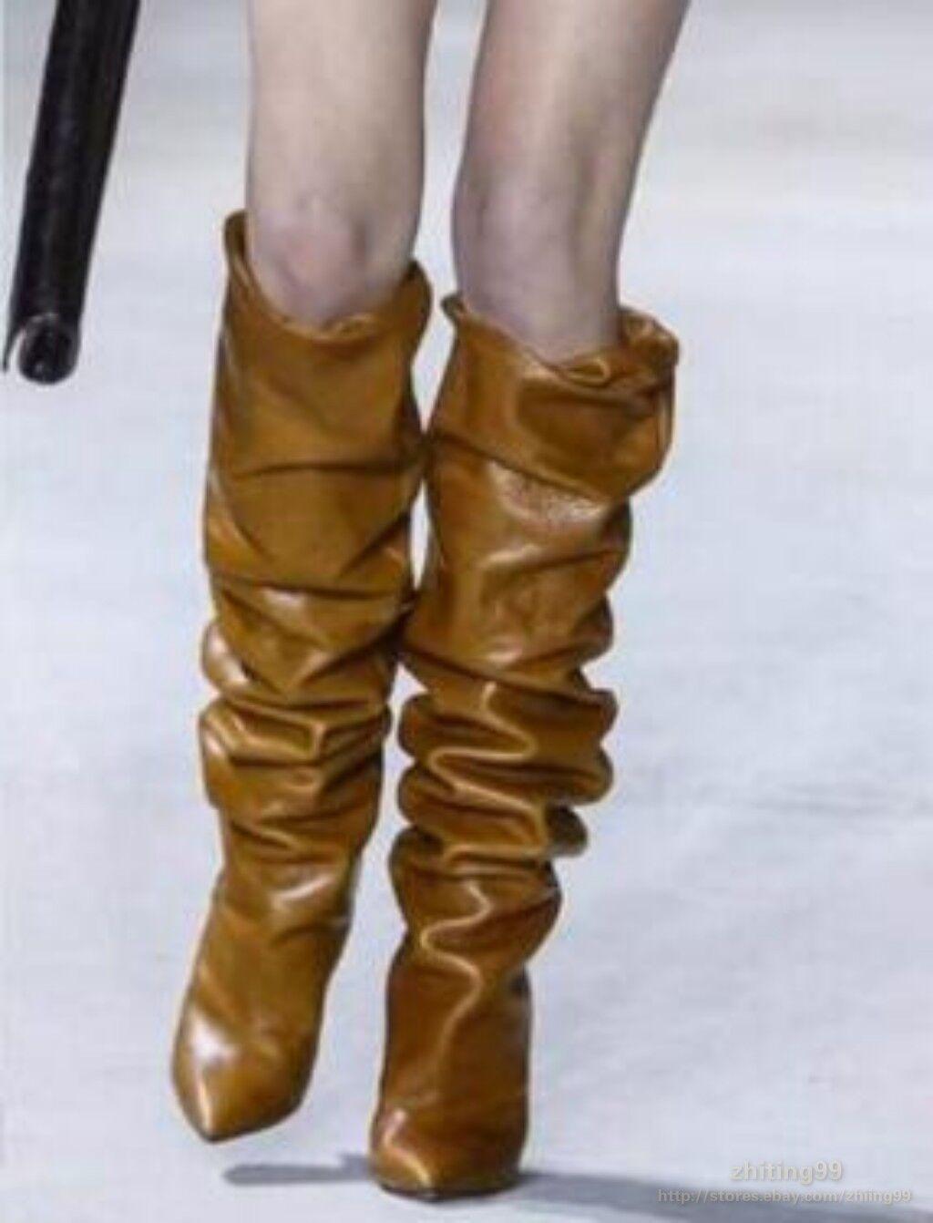 Plisada para mujer real cuero tira stilettos stilettos stilettos Zapatos tacones altos en punta Caliente  online al mejor precio