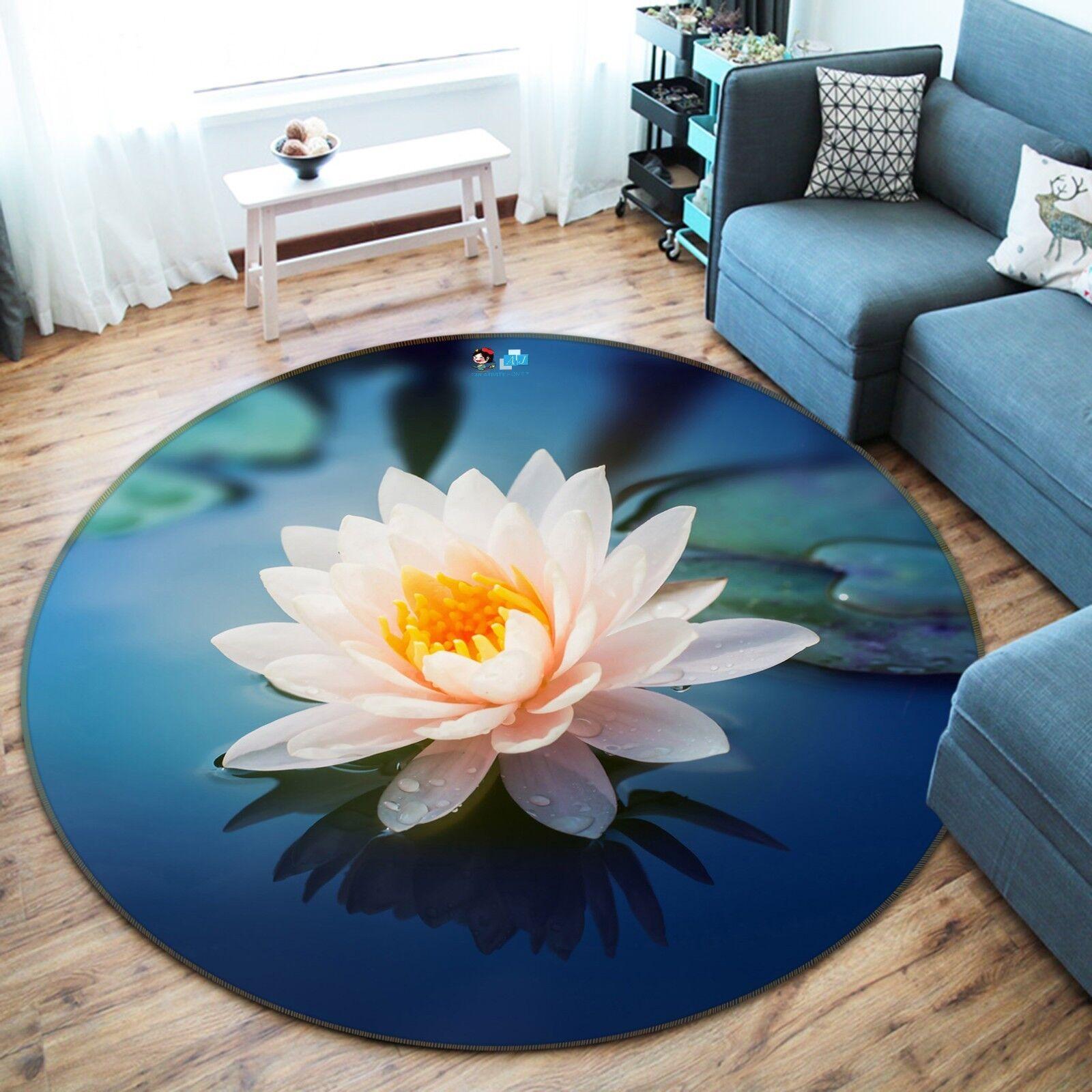 3D Lotus River 9 Non Slip Rug Mat Room Mat Round Quality Elegant Photo Carpet US