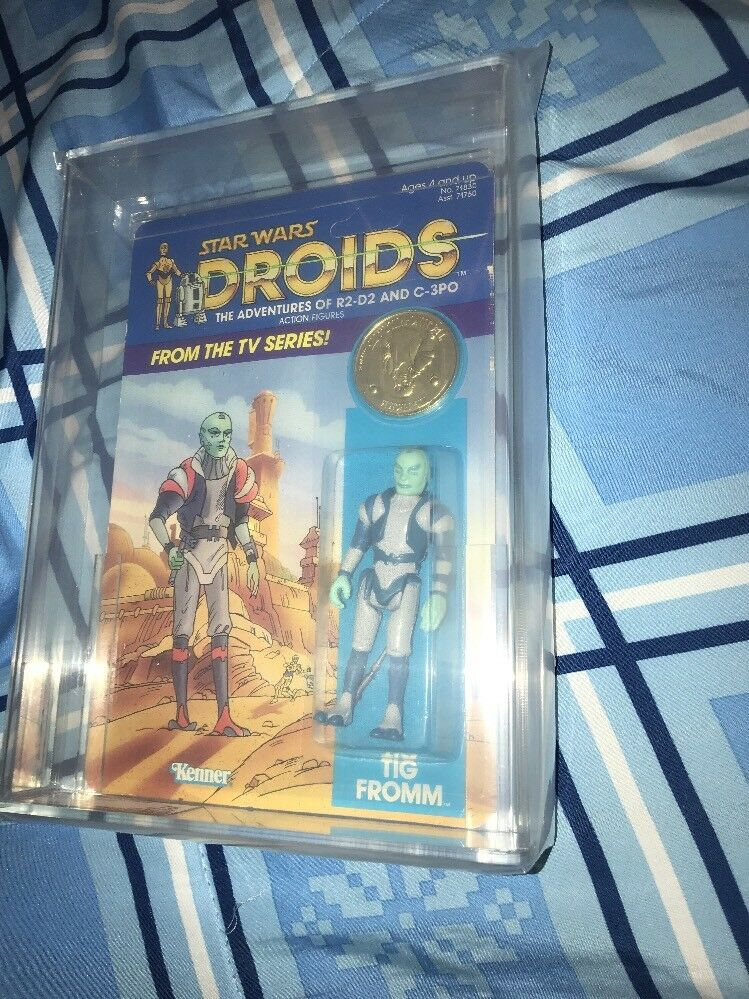 VINTAGE STAR WARS 1985 DROIDS TIG FROMM FROMM FROMM UNPUNCHED MOC AFA 75 c572c0