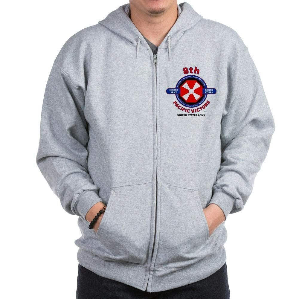 8TH ARMY SOUTH KOREA   PACIFIC VICTORS LEFT CHEST ZIPPER HOODIE