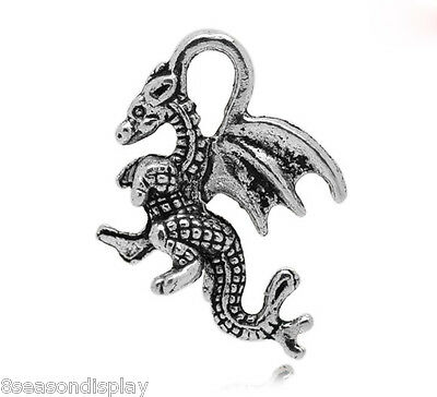 50PCs Silver Tone Winged Dragon Charm Pendants Zinc Metal Alloy 21x14mm