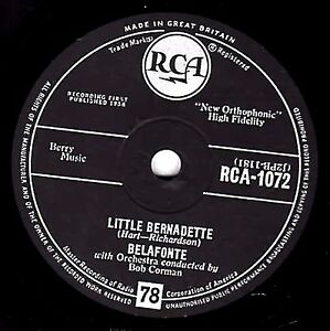 "Comme neuf!!! Calypso 78 HARRY BELAFONTE ""Little Bernadette/Danny Boy"" uk rca 1072"