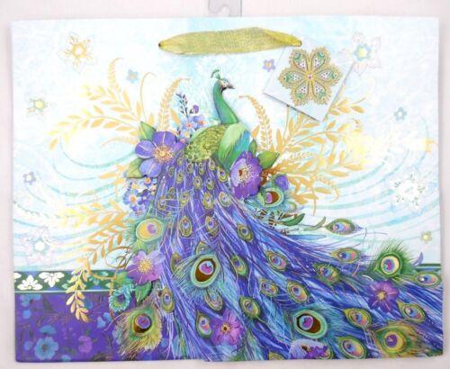 PUNCH STUDIO 3D Gold Foil Embellished 14 x 11 x 5 Purple Green Peacock Gift Bag