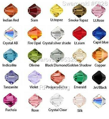 48 Authentic Swarovski Xilion Bicone Crystal Beads 4mm #5328-U Pick Color