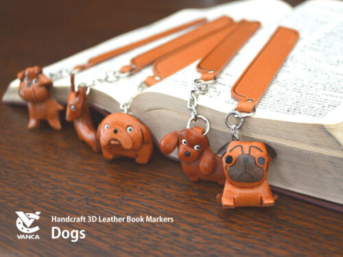 Bearded collie Leather dog Charm Bookmarker *VANCA* Made in Japan #61705