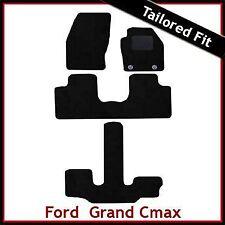 Ford Grand C-Max 2011 onwards Oval Eyelets Tailored Carpet Car Mats BLACK