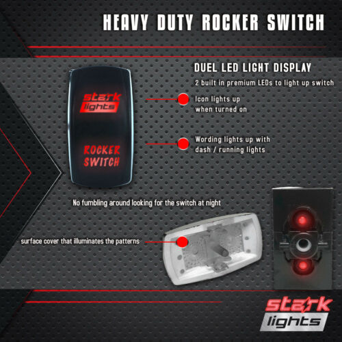 GREEN Laser Etched LED Rocker Switch Dual Light 20A 12V ON OFF 12 VOLT POWER