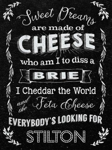 Kitchen Cafe Diner Funny Food Retro Large Metal Tin Sign Sweet dreams cheese