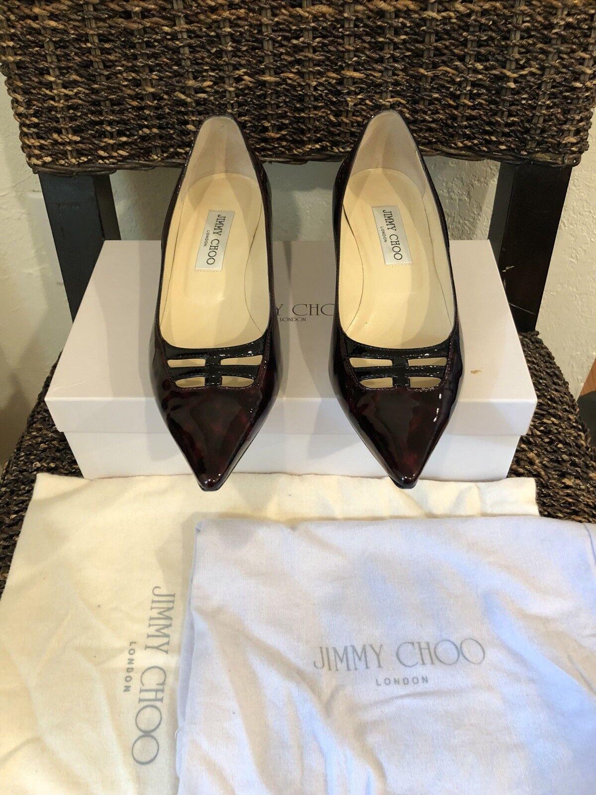 """JIMMY CHOO"" Leopard Print Patent Leather Heels Heels Heels Sz 37.5 Us 7.5 Excellent Conditi 8c9ff1"