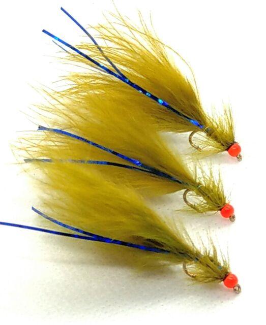 HOT HEAD Olive BLUE FLASH Damsel Flies UV ORANGE 3 Pack Trout Fly Fishing #10 12