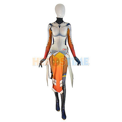 Overwatch Mercy Costume Armored W Strips Girl Game Cosplay Suit For Adult/Kids