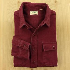 usa-made-LL-BEAN-faded-flannel-shirt-LARGE-chamois-check-vtg-red-purple