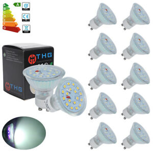10er-LED-Spot-GU10-5W-SMD-Lampe-Strahler-Gluehbirne-50W-Leuchte-Kaltweiss-A-230V
