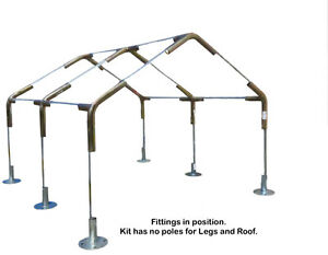 Image is loading Carport-Canopy-Kit-10-x-20-ft-w-  sc 1 st  eBay & Carport Canopy Kit 10 x 20 ft w/Foot Pads High Peak 1-3/8 Pole ...