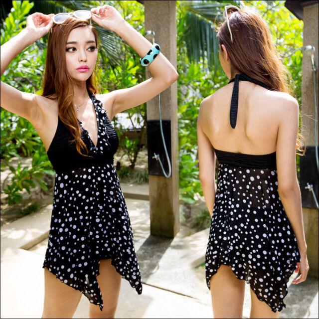 Lady Sexy  Halter Tankini Swimsuit Retro Beach Swimdress Swimwear Green Black