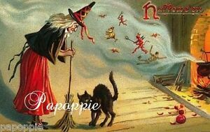 Fabric-Block-Vintage-Halloween-Postcard-Image-Witch-Cat-Spells-Warlocks