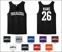 Trailblazers Custom Personalized Name & Number Tank Top Jersey T-shirt