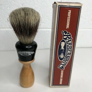 Vintage-BARBERSHOP-Wood-Handle-SHAVING-BRUSH-w-BOAR-BADGER-Bristles-LUXURY-1976
