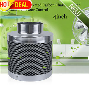 4inch Home Car Activated Carbon Charcoal Filter Inline Fan Odor Control