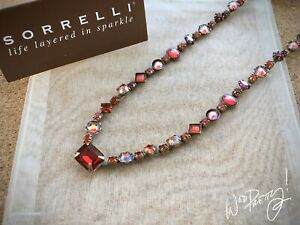 SORRELLI-Classic-Necklace-Crystal-Center-Stone-CRANBERRY-NAO15AGCB-Red-170-NWOT