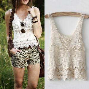 35ba58ab203 Chic Women Summer Sexy Hippie Boho Crochet Lace Beige Vest Tank Top ...