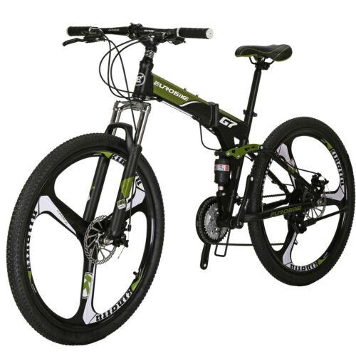 """G7 Folding Mountain Bike 21 Speed Full Suspension Disc Brake 27.5/"""" Mens Bicycle"""