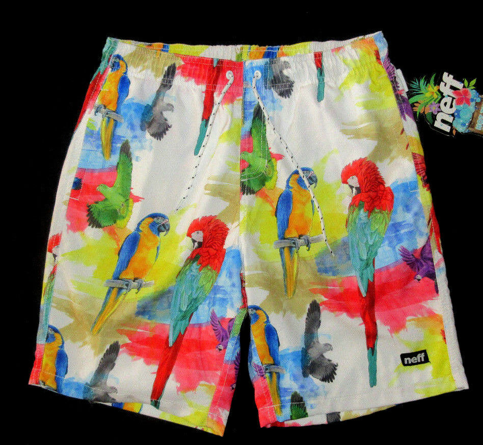 MENS NEFF PARredS TROPICAL LINED SWIM BOARD SHORTS SIZE L