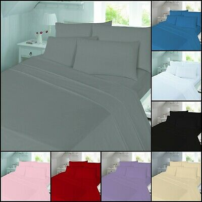Brushed Cotton Flannel Thermal Bed Sheet 1 Flat 1 Fitted 2 Pillowcases All Size