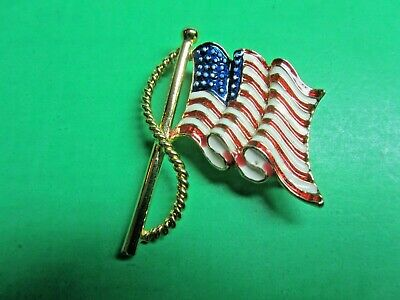 ES HS 1898 Brooch Gold Enamel Red White Pin Antique