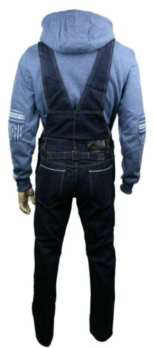 Mens Navy Washed Denim Dungarees Jeans Straight Leg Retro Vintage Casual