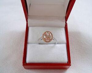 KREMENTZ-1-38-Ct-Morganite-Solitaire-amp-Topaz-10k-White-amp-Rose-Gold-Ring