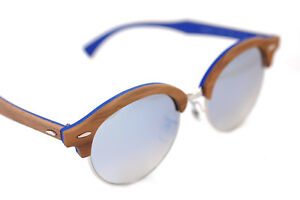 2db58f20205 Ray-Ban CLUBROUND WOOD RB4246M 1217 9U 51mm Sunglasses BROWN SILVER ...