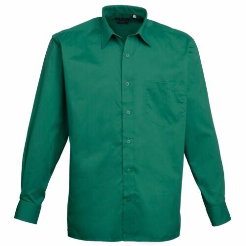 Men/'s Long Sleeve Poplin Shirt Plain Work Shirt Premier PR200 Sizes 14.5-22