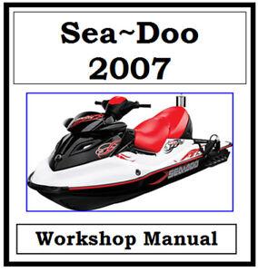 sea doo jet ski 2007 4tec wake gti gtise gtx rxp workshop manual cd rh ebay com au 2007 seadoo gti service manual 2007 sea doo gti se 155 owner's manual
