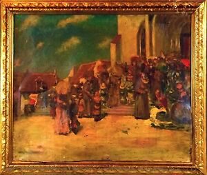 E4-055-OUT-OF-THE-CATHEDRAL-MASS-OIL-ON-CANVAS-NO-SIGNATURE-SPAIN-XIX-XX