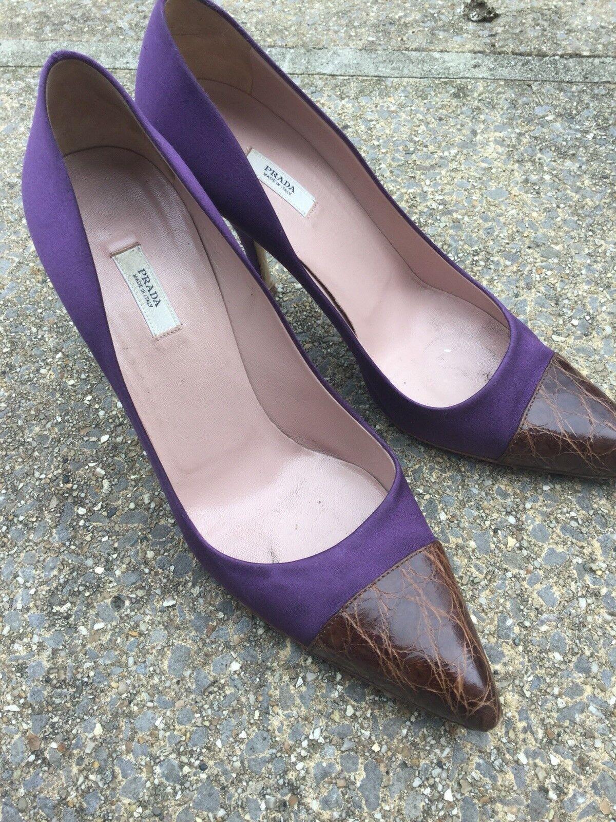 prada en cuir cuir cuir vintage violet prince tribunaux talons 39,5 sexy designer 9f7abb