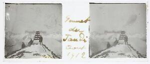 Montagne Alpinista Alpinismo Foto Stereo PL58L26n26 Placca Lente Vintage