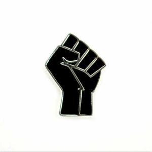 Black Lives Matter Power Fist Solidarity Raised Anti Racism Badge Pin