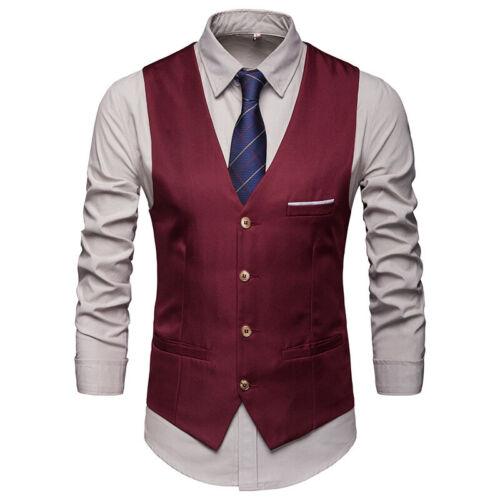 Mens Business Waistcoat Vest Slim Fit Gilet Formal Party Wedding Groom Dress xl