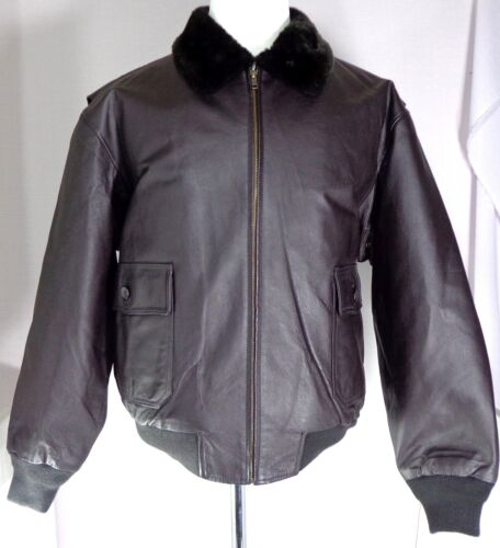 Mens Brown Leather Bomber Jacket Size Large